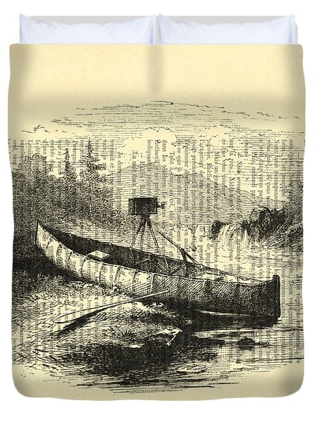 Canoe With Field Camera In Black And White Antique Illustration Duvet Cover