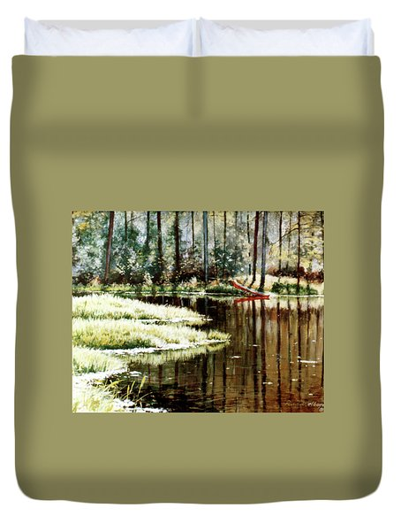 Canoe On Pond Duvet Cover