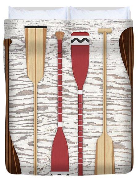 Canoe Paddles And Oars Over Wood Duvet Cover