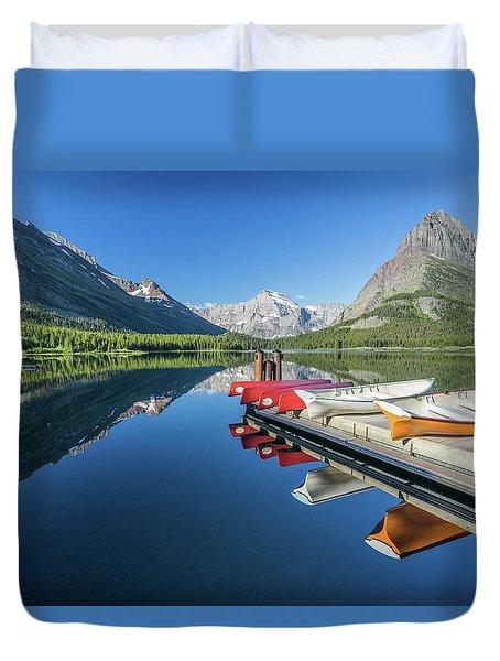Canoe Reflections Duvet Cover by Alpha Wanderlust