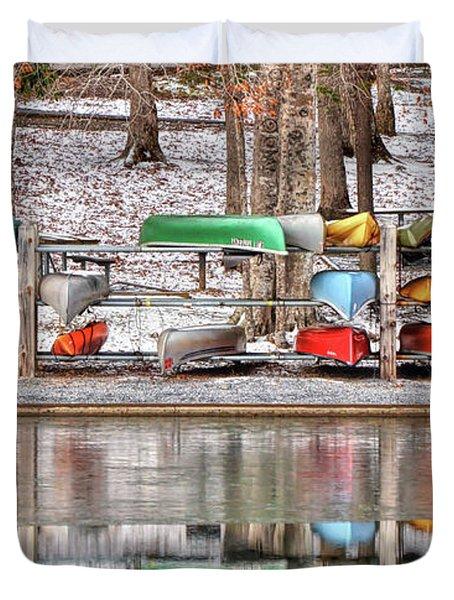 Canoe Reflections Duvet Cover