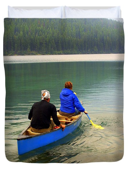 Canoeing Glacier Park Duvet Cover by Marty Koch