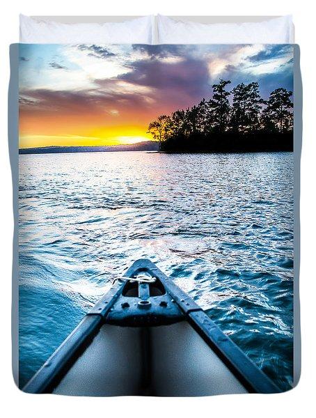 Canoeing In Paradise Duvet Cover