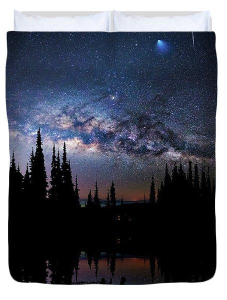 Canoeing - Milky Way - Night Scene Duvet Cover