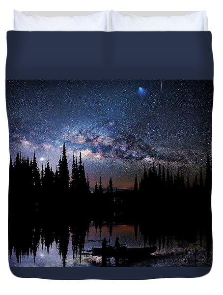Canoeing - Milky Way - Night Scene Duvet Cover