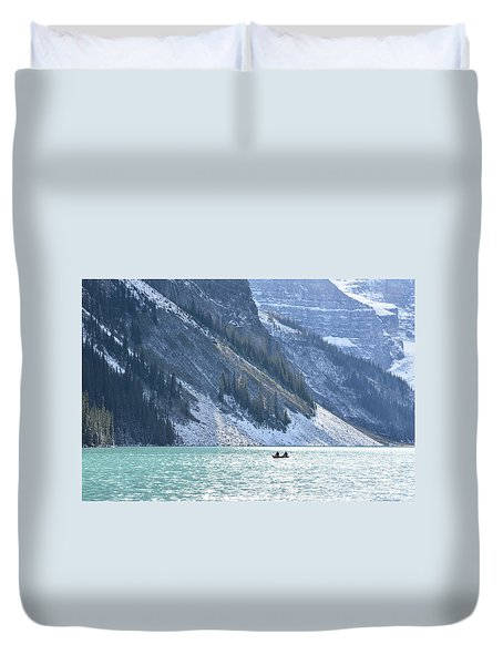 Canoeing On Lake Louise Duvet Cover