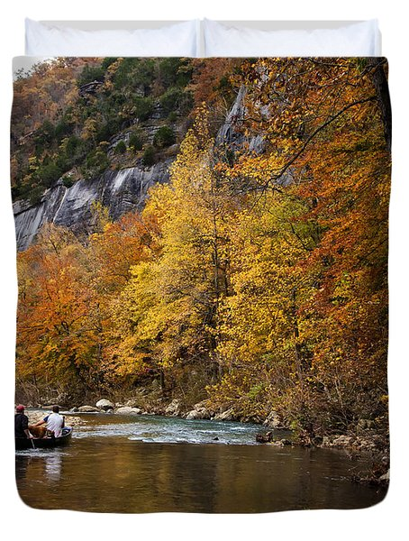Canoeing The Buffalo River At Steel Creek Duvet Cover by Michael Dougherty