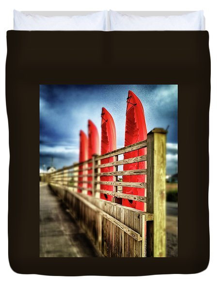 Canoes And Walkway, Surf City, North Carolina Duvet Cover