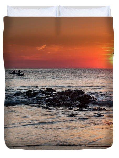 A Canoe At Crackington Haven At Sunset Cornwall Duvet Cover