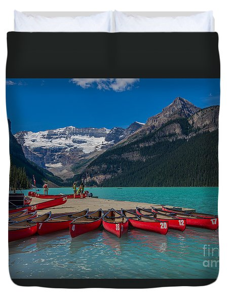 Canoes On Lake Louise Duvet Cover