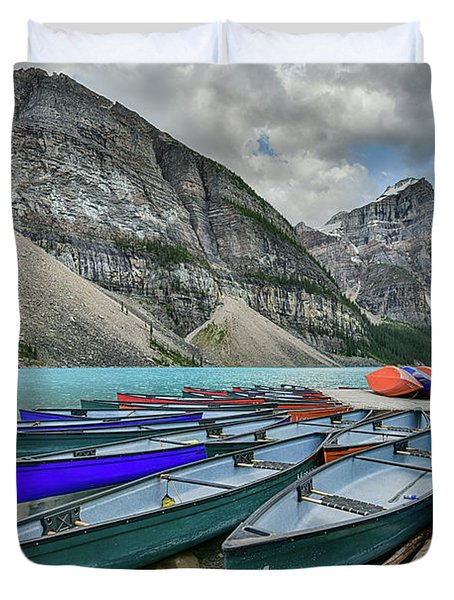 Canoes On Moraine Lake  Duvet Cover