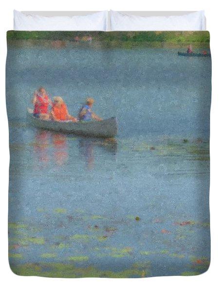 Canoes On Shovelshop Pond Duvet Cover