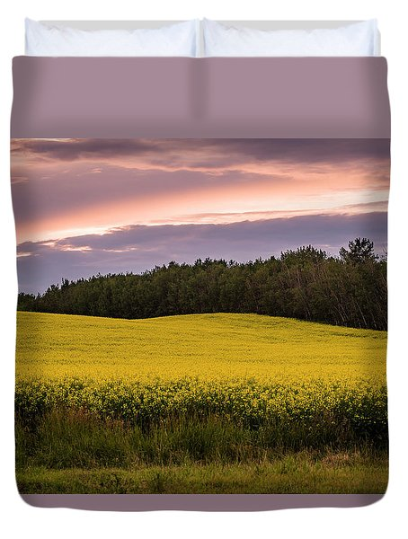 Duvet Cover featuring the photograph Canola Crop Sunset by Darcy Michaelchuk