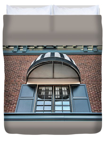 Duvet Cover featuring the photograph Canopy And Reflection In Window by Gary Slawsky