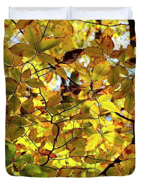 Duvet Cover featuring the photograph Canopy Of Autumn Leaves  by Angie Tirado
