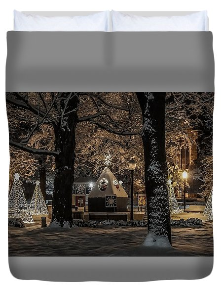 Duvet Cover featuring the photograph Canopy Of Christmas Lights by Kendall McKernon