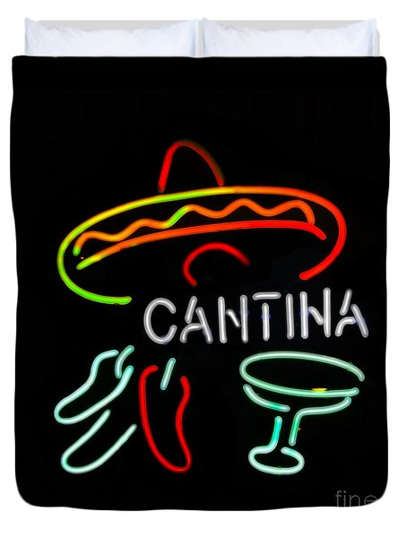 Cantina Neon Sign Duvet Cover