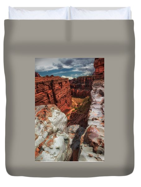 Canyon Lands Quartz Falls Overlook Duvet Cover by Gary Warnimont