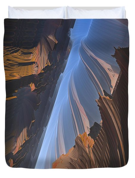 Duvet Cover featuring the digital art Canyon by Lyle Hatch
