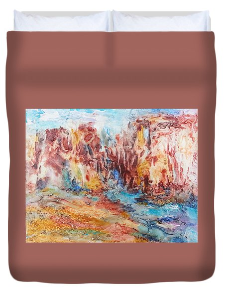 Canyon Mouth Duvet Cover by Becky Chappell