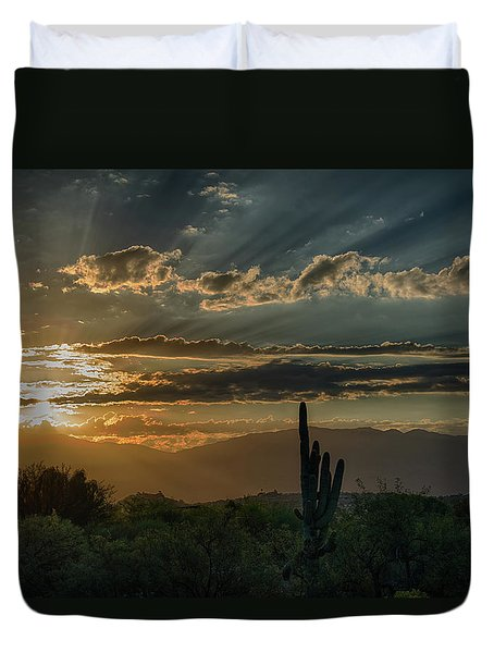 Duvet Cover featuring the photograph Canyon Ranch Dawn by Dan McManus