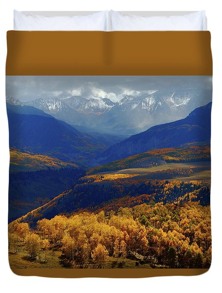 Canyon Shadows And Light From Last Dollar Road In Colorado During Autumn Duvet Cover by Jetson Nguyen