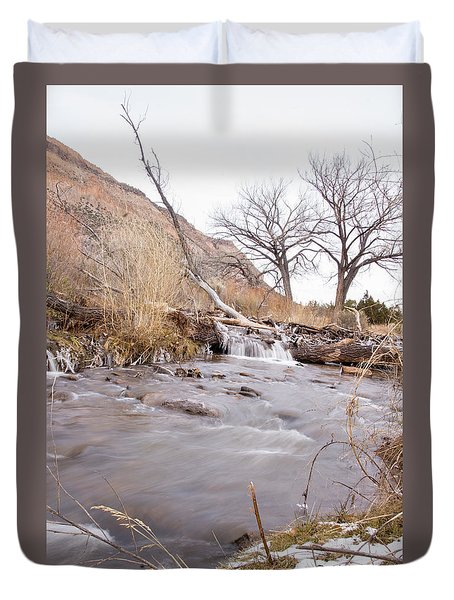 Canyon Stream Falls Duvet Cover by Ricky Dean
