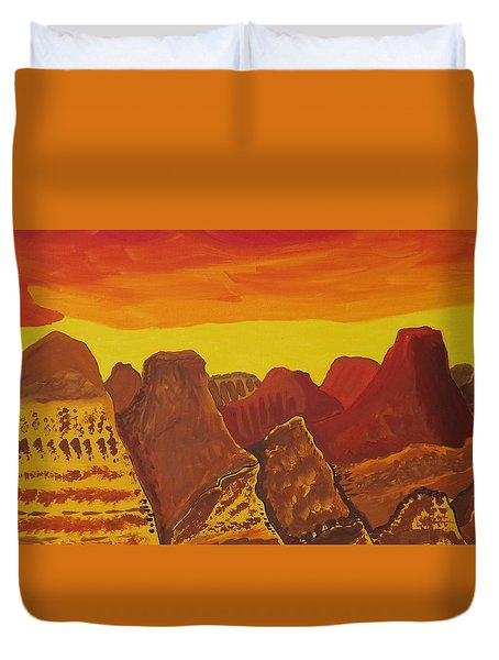 Duvet Cover featuring the painting Canyonlands  Topsection by Don Koester