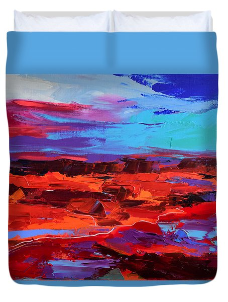 Duvet Cover featuring the painting Canyon At Dusk - Art By Elise Palmigiani by Elise Palmigiani