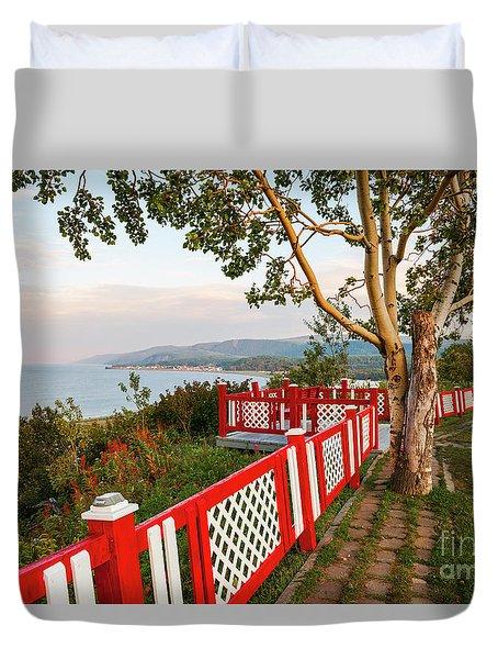 Duvet Cover featuring the photograph Cap-de-la-madeleine Lookout by Elena Elisseeva
