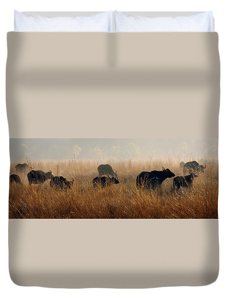 Cape Buffalo Herd Duvet Cover