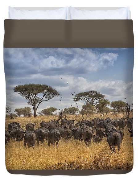 Duvet Cover featuring the tapestry - textile Cape Buffalo Herd by Kathy Adams Clark
