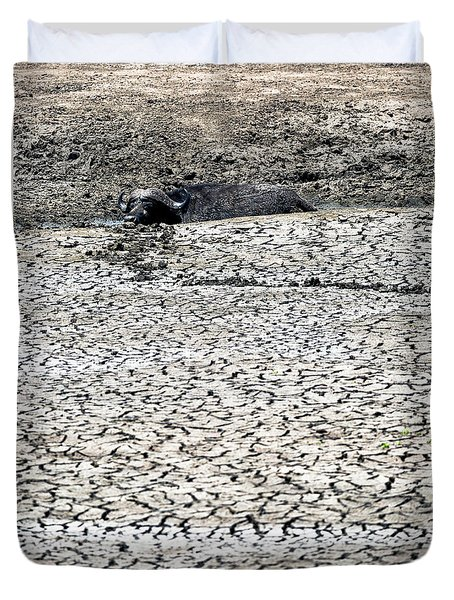 Cape Buffalo Lying In Mud Duvet Cover