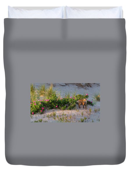 Duvet Cover featuring the photograph Cape Cod Beach Fox by Bill Wakeley
