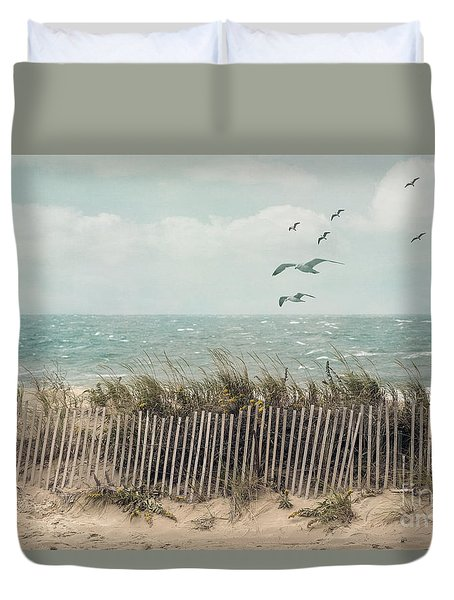 Cape Cod Beach Scene Duvet Cover