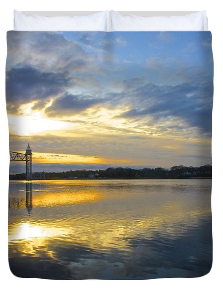 Cape Cod Canal Sunrise Duvet Cover