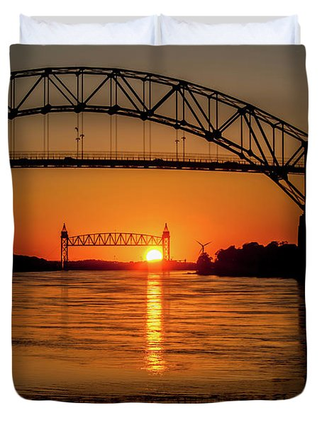 Cape Cod Canal Sunset Duvet Cover