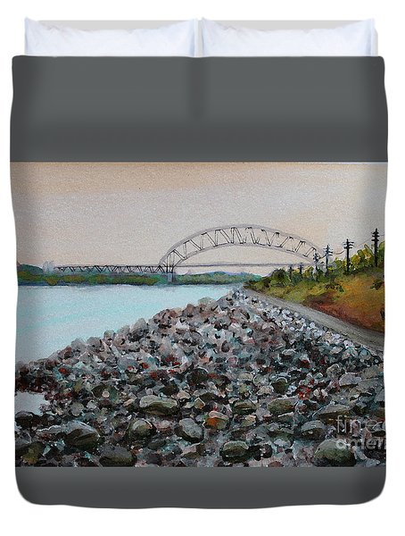 Cape Cod Canal To The Bourne Bridge Duvet Cover