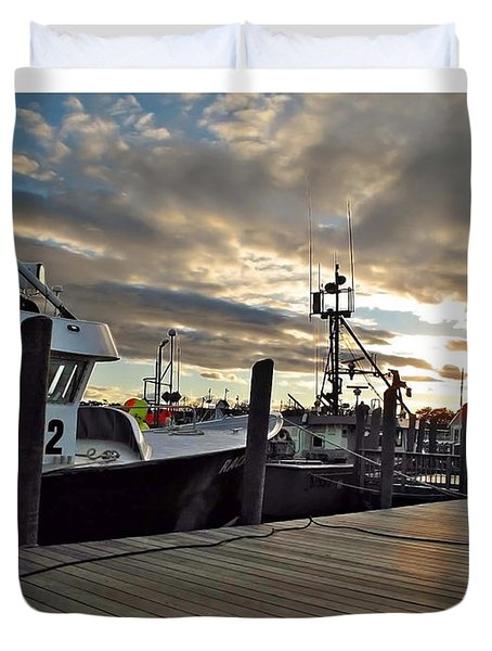 Cape Cod Harbor Duvet Cover by Joan  Minchak