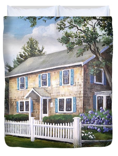 Cape Cod House Painting Duvet Cover