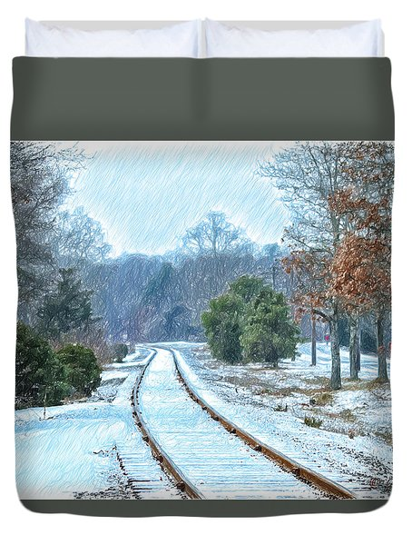 Cape Cod Rail And Trail Duvet Cover by Constantine Gregory