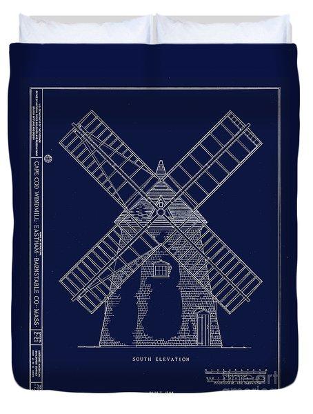 Historic Cape Cod Windmill Blueprint Duvet Cover by John Stephens