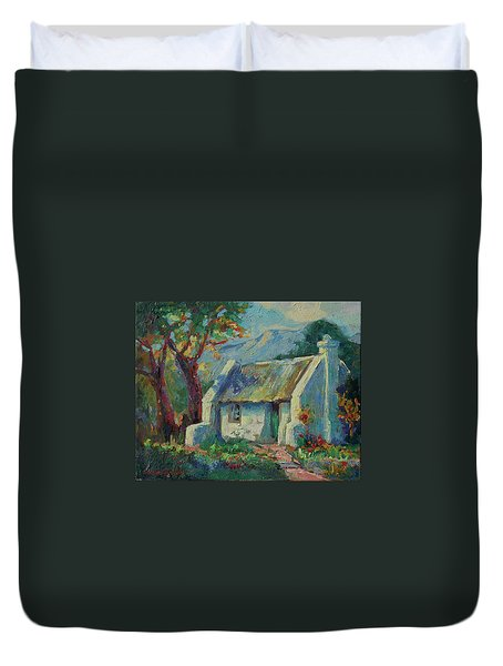 Cape Cottage With Mountains Art Bertram Poole Duvet Cover