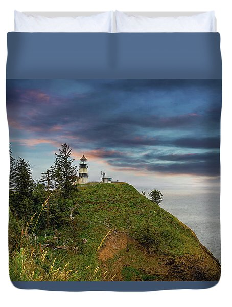 Cape Disappointment After Sunset Duvet Cover by David Gn