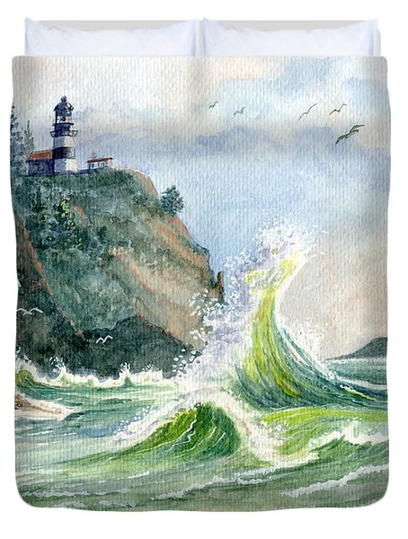 Duvet Cover featuring the painting Cape Disappointment Lighthouse by Marilyn Smith