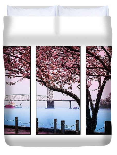 Cape Fear River Bridge Triptych Duvet Cover
