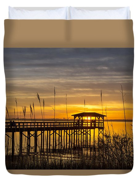 Cape Fear Sunset Fort Fisher Duvet Cover