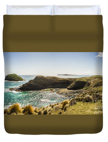 Cape Grim Cliff Panoramic Duvet Cover by Jorgo Photography - Wall Art Gallery