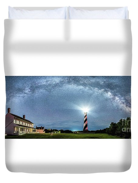 Cape Hatteras Light House Milky Way Panoramic Duvet Cover
