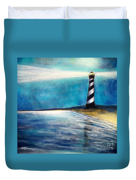 Duvet Cover featuring the pastel Cape Hatteras Lighthouse Night Glow by Patricia L Davidson